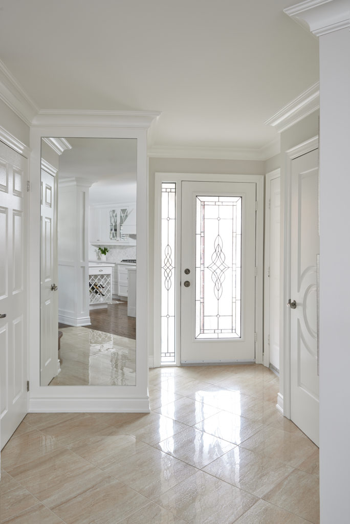 Stylish Front Foyer With Ceramic Tile Floor Benjamin Moore Classic Gray Oxford White